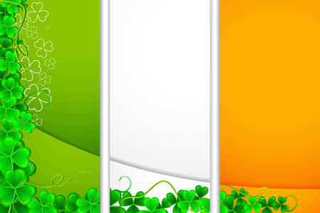 illustration of clover leaf on Irish Flag for Sint Patrick s Day Vector