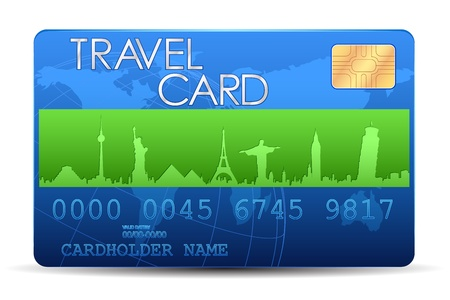 debit cards: illustration of travel card with world famous monument