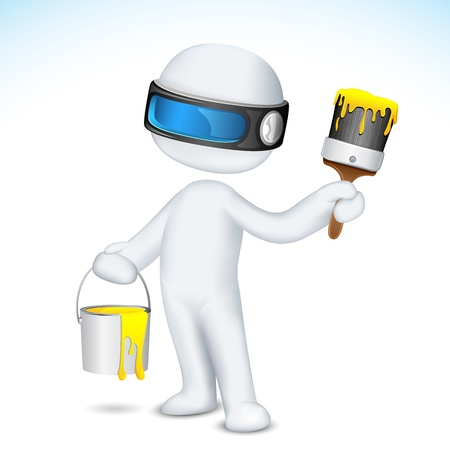 illustration of 3d man in scalable vector with paint bucket and paint brush Vector