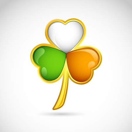 luck charms: illustration of clover leaf in Irish flag color for saint patrick s day