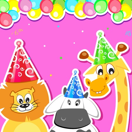 illustration of animal with birthday hat and balloon Stock Vector - 12492929