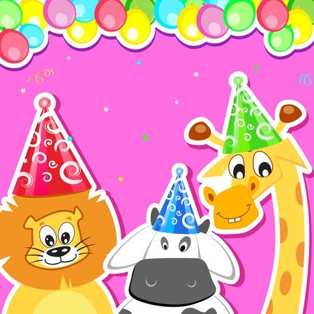 festive occasions: ilustraci�n de animal con sombrero de cumplea�os y globos