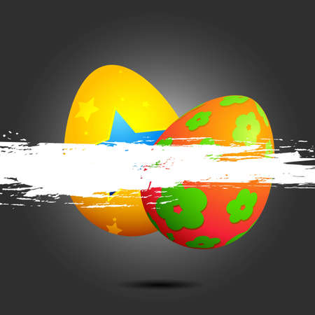 april beautiful: illustration of colorful easter egg with grunge banner