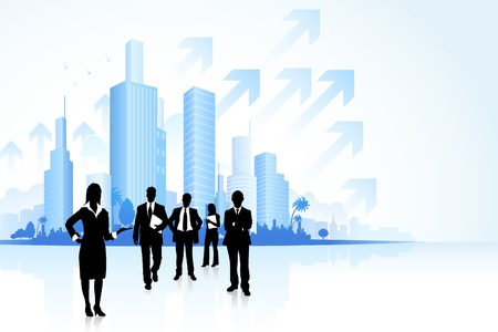 townscape: illustration of business people in townscape with arrow Illustration