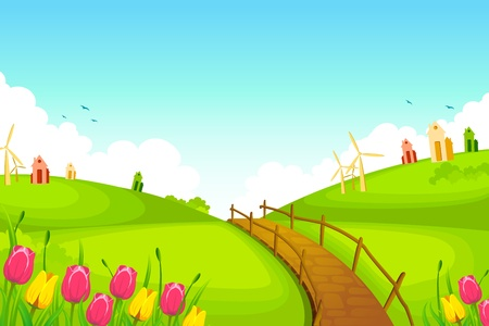 illustration of spring landscape with flowers and huts Vector