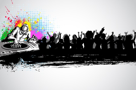 fiesta dj: ilustración de jockey de música disco con gente de fiesta en el fondo musical