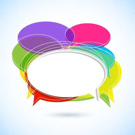 illustration of colorful chat bubble on abstract background Vector