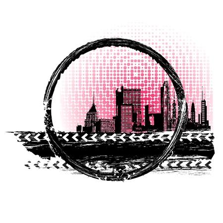 미드 타운: 지저분한 추상적 인 배경에 도시의 그림