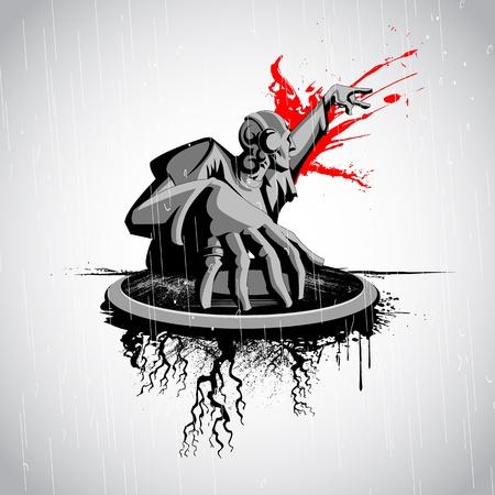 fiestas electronicas: ilustración de jockey de música disco reproduce un disco en el fondo sucio