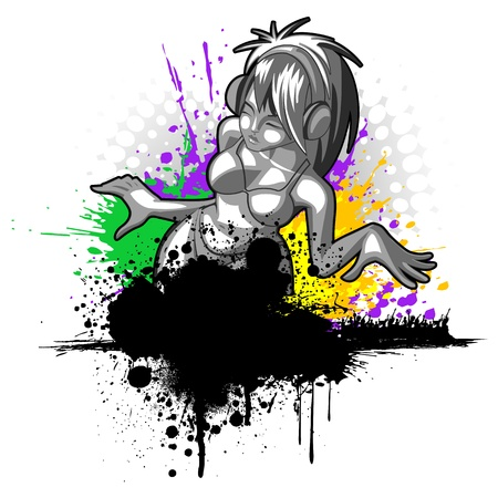 illustration of lady dancing in party on grungy background Vector