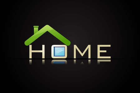 illustration of home text with roof on black background Stock Illustration - 12726828