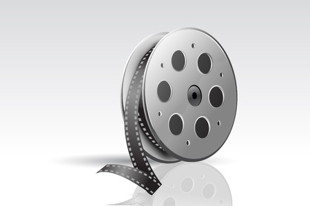 celluloid film: illustration of film reel on abstract background