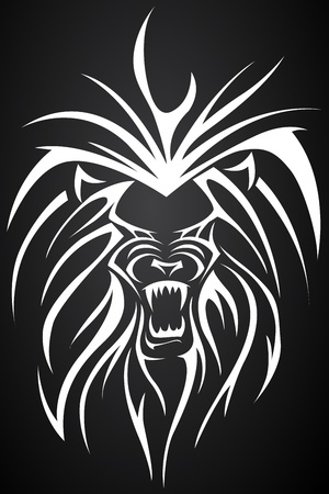 illustration of close up face of lion tatto Vector