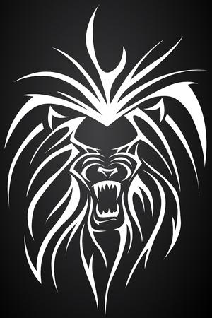 ilustración de cerca la cara de león tatto