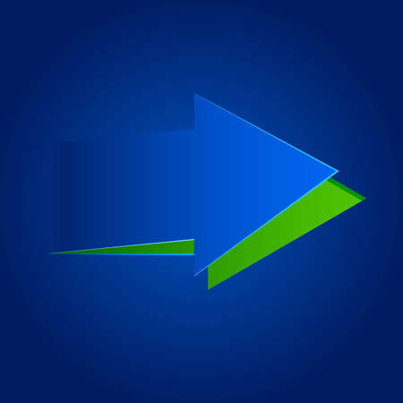 moving forward: illustration of paper cut out arrow in blue background