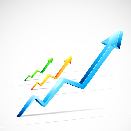 illustration of colorful growing arrow in race Vector