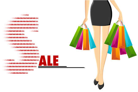 pretty young girl: illustration of lady with shopping bag coming from sale Illustration