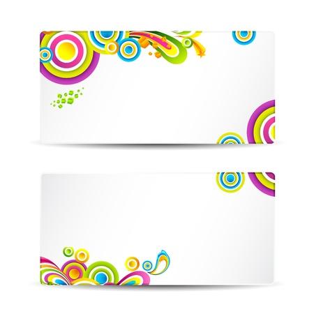 visiting: illustration of front and back of colorful visitng card