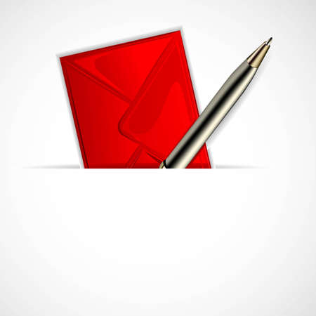 illustration of envelope with pen on white background Stock Vector - 12493009