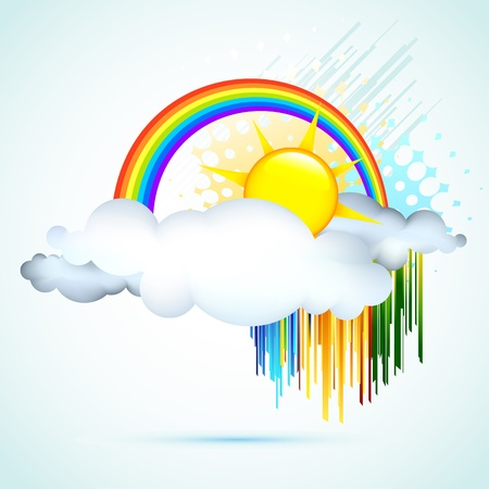 sunny cold days: illustration of sun in clouds with rainbow in sky