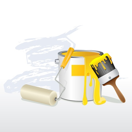is wet: illustration of paint bucket with paint brush and roller