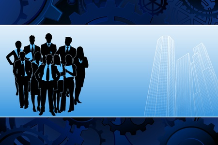 business people walking: illustration of business team standing on corporate building background
