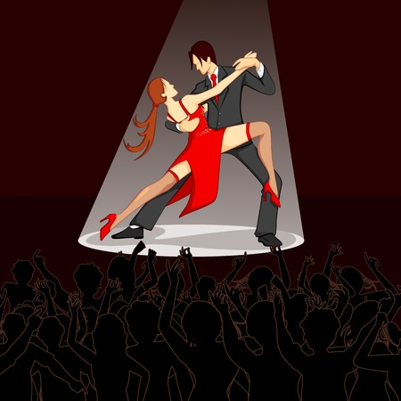 illustration of dancer performing salsa on stage with cheering crowd Vector