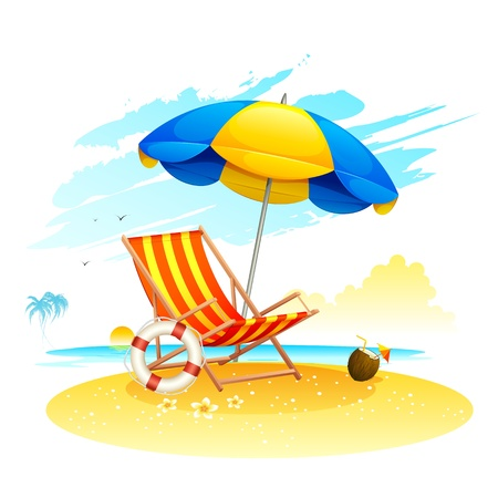 sunbathe: illustration of recliner under garden umbrella in sea beach