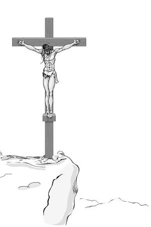 sacrificio: la ilustración de Jesús Cristo en la cruz sobre fondo blanco Vectores