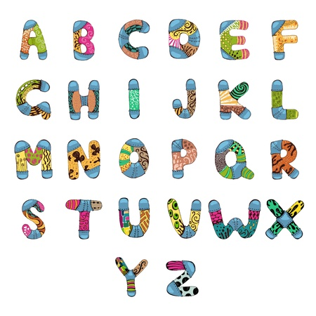 b n: illustration of set of abc alphabet with retro pattern