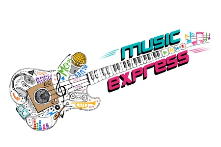 illustration of music doddle in shape of guitar Vector