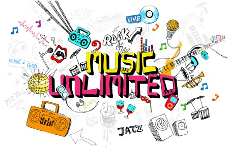 illustration of music unlimited doodle with colorful element illustration