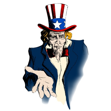 illustration of portrait of Uncle Sam on white background Vector