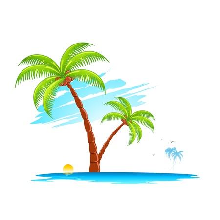 illustratie van de palmboom in eiland op abstracte achtergrond