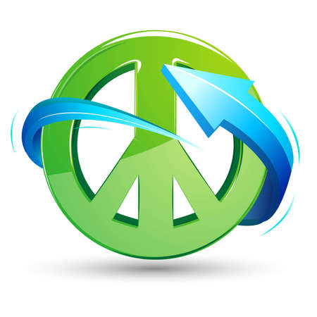social awareness symbol: illustration of peace sign with arrow around on white background