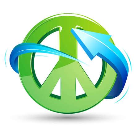 bondad: ilustración de signo de la paz con la flecha alrededor en el fondo blanco