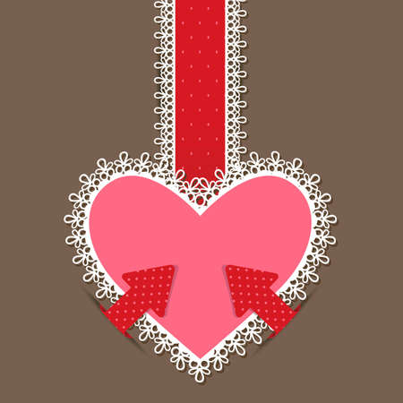 illustration of heart with lace border in retro style Vector