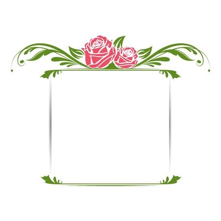 виньетка: иллюстрации старинные цветочные рамка с розой