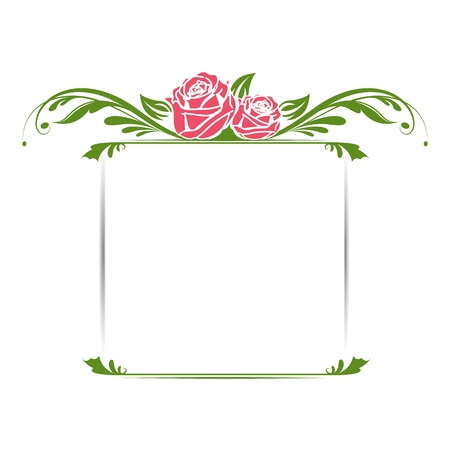 illustration of vintage floral frame with rose Illustration