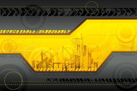 building construction: illustration of under construction background with building
