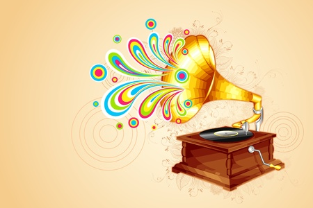 illustration of colorful swirl coming out of antique gramophone Vector