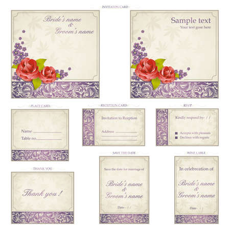 wedding reception decoration: illustration of set of wedding reception invitation card in vintage style