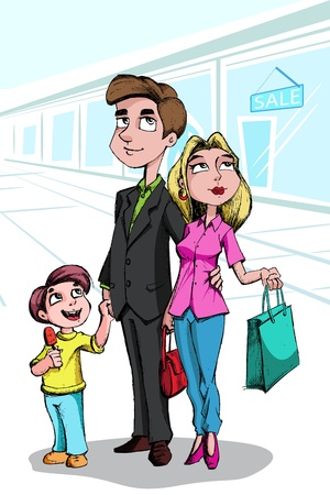 woman illustration: illustration of family doing shopping in mall Illustration