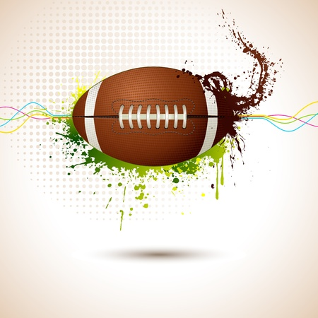 american football field: illustration of rugby ball on abstract grungy background Illustration