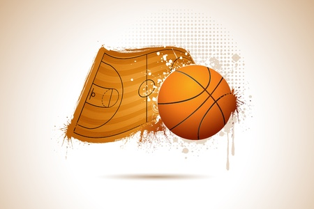 floor ball: illustration of basket ball on on field in abstract background