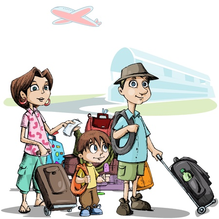 tourist: illustration of family with luggage standing in airport