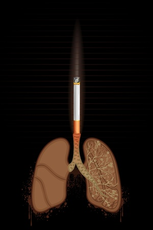 damage: illustration of cigarette burning human lungs on abstract background Illustration