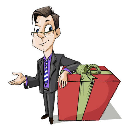 illustration of business man standing with gift box Stock Illustration - 12763003