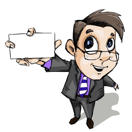 illustration of business man showing blank display card