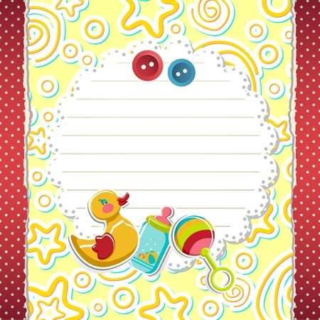 illustration of baby arrival card with toys on abstract background Illustration
